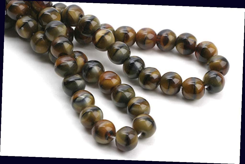 20 Caramel Cream Czech Glass Round Beads for Jewelry Making Bracelets, Necklaces 6mm Supplies for DIY Crafts Beadwork