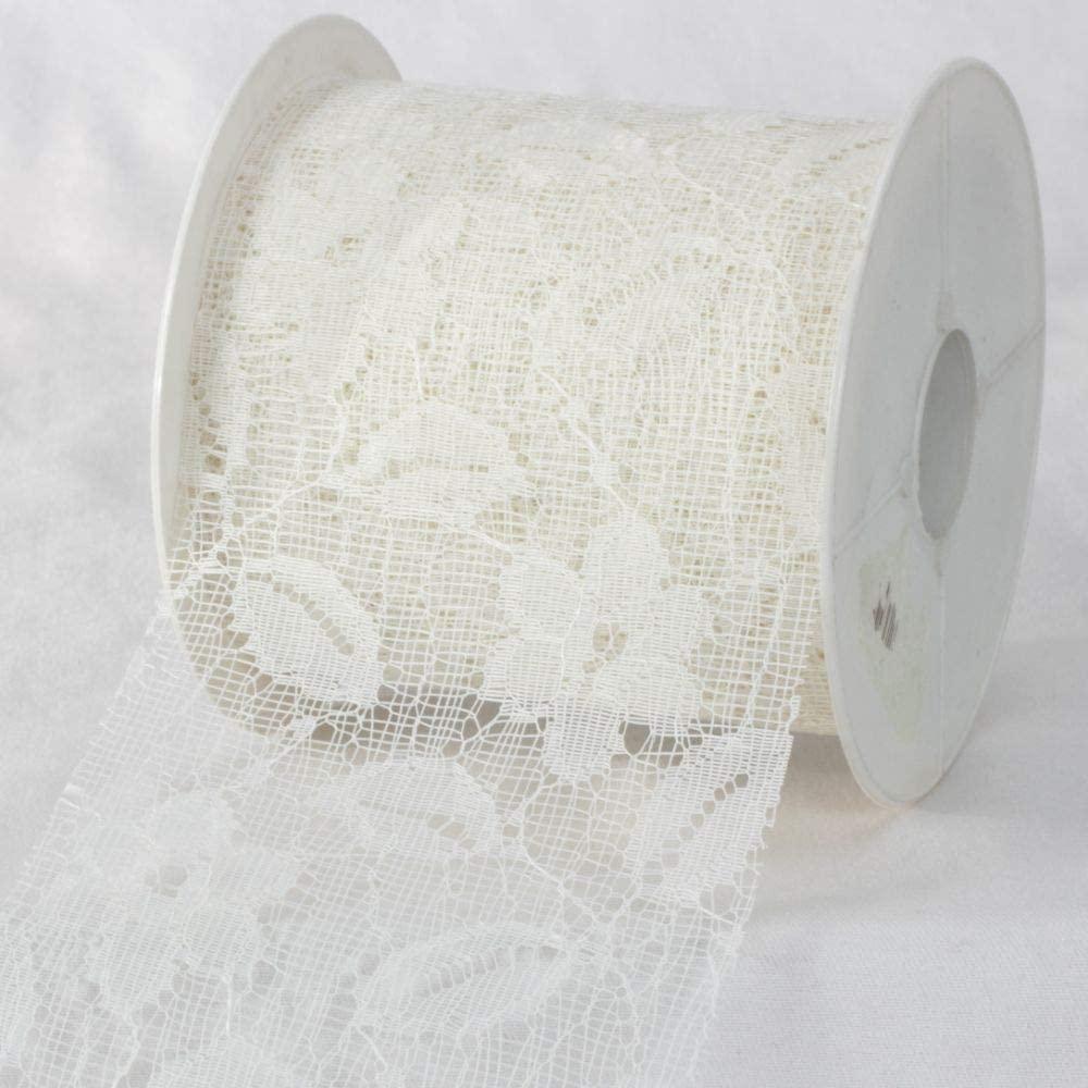 Ivory Designer Floral Lace Craft Ribbon 4 x 22 Yards