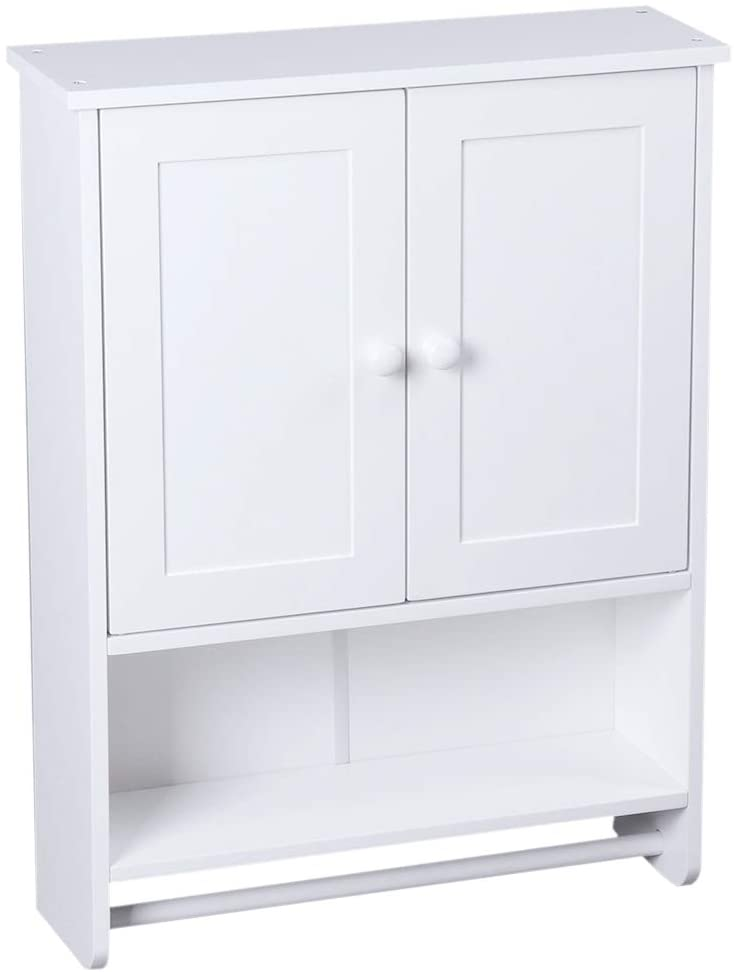DESIGNSCAPE3D Wall Cabinet Wall-Mounted for Bathroom Storage, Double Doors Medicine Cabinet with Shelf, Waterproof, White