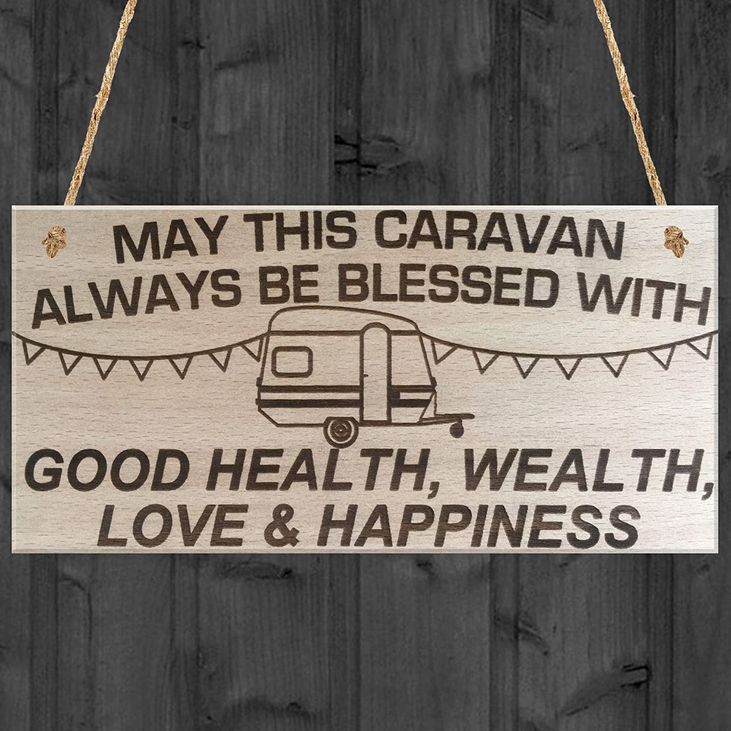 XLD Store May This Caravan Be Blessed Wooden Hanging Plaque Love Shabby Chic Gift Sign