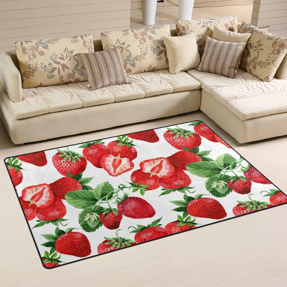 WellLee Area Rug,Watercolor Style Strawberry Floor Rug Non-Slip Doormat for Living Dining Dorm Room Bedroom Decor 31x20 Inch