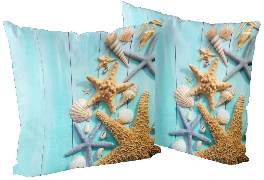 CUXWEOT Pillow Case Pillowcase Zippered Pillow Cases Protector Cover Size 18x 18 inchSeashells Over Wooden