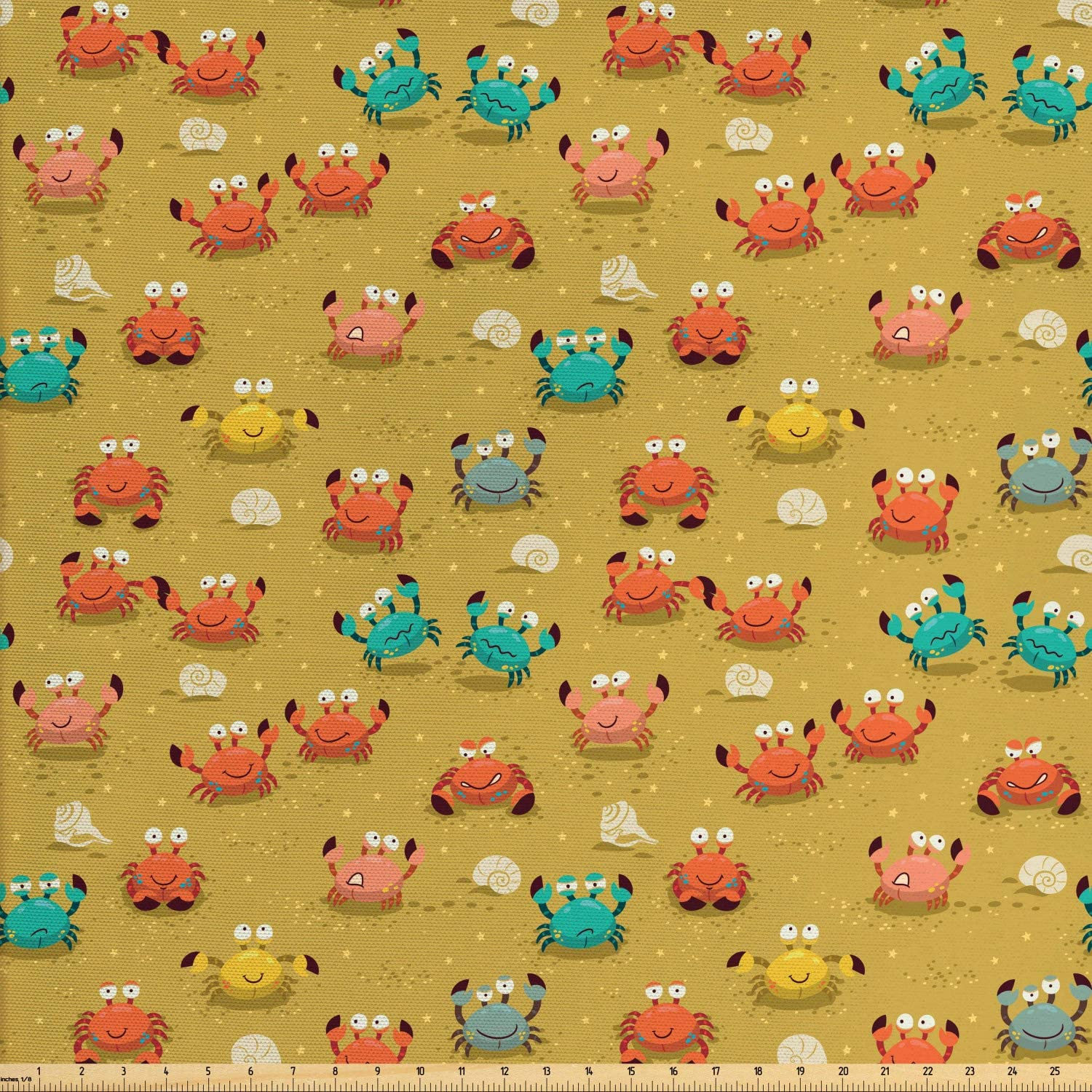 Ambesonne Crabs Fabric by The Yard, Sea Themed Cartoon Style Illustration of Crabs Stars and Shells Pattern Art, Decorative Fabric for Upholstery and Home Accents, 1 Yard, Pale Coffee