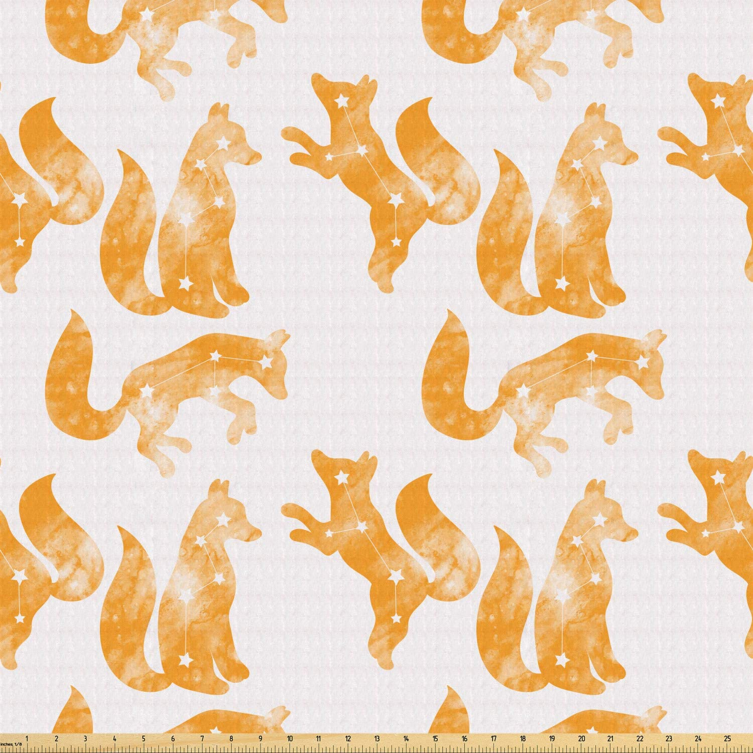 Lunarable Fabric by The Yard, Stretch Knit Fabric for Clothing Sewing and Arts Crafts, 1 Yard, Orange White