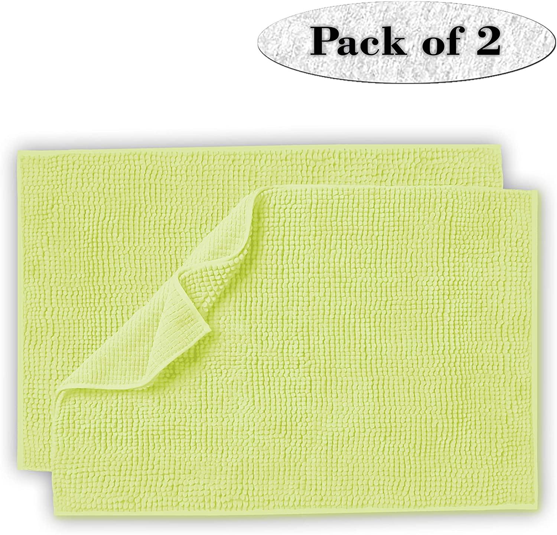 Lavish Touch Set of 2 Chenille Bathroom Rug 20x32 Non Slip Extra Soft Absorbent Shaggy Rugs, Machine Washable Bath Mat, Perfect Plush Bath Rug for Tub, Shower & Bath Room- Lime Green