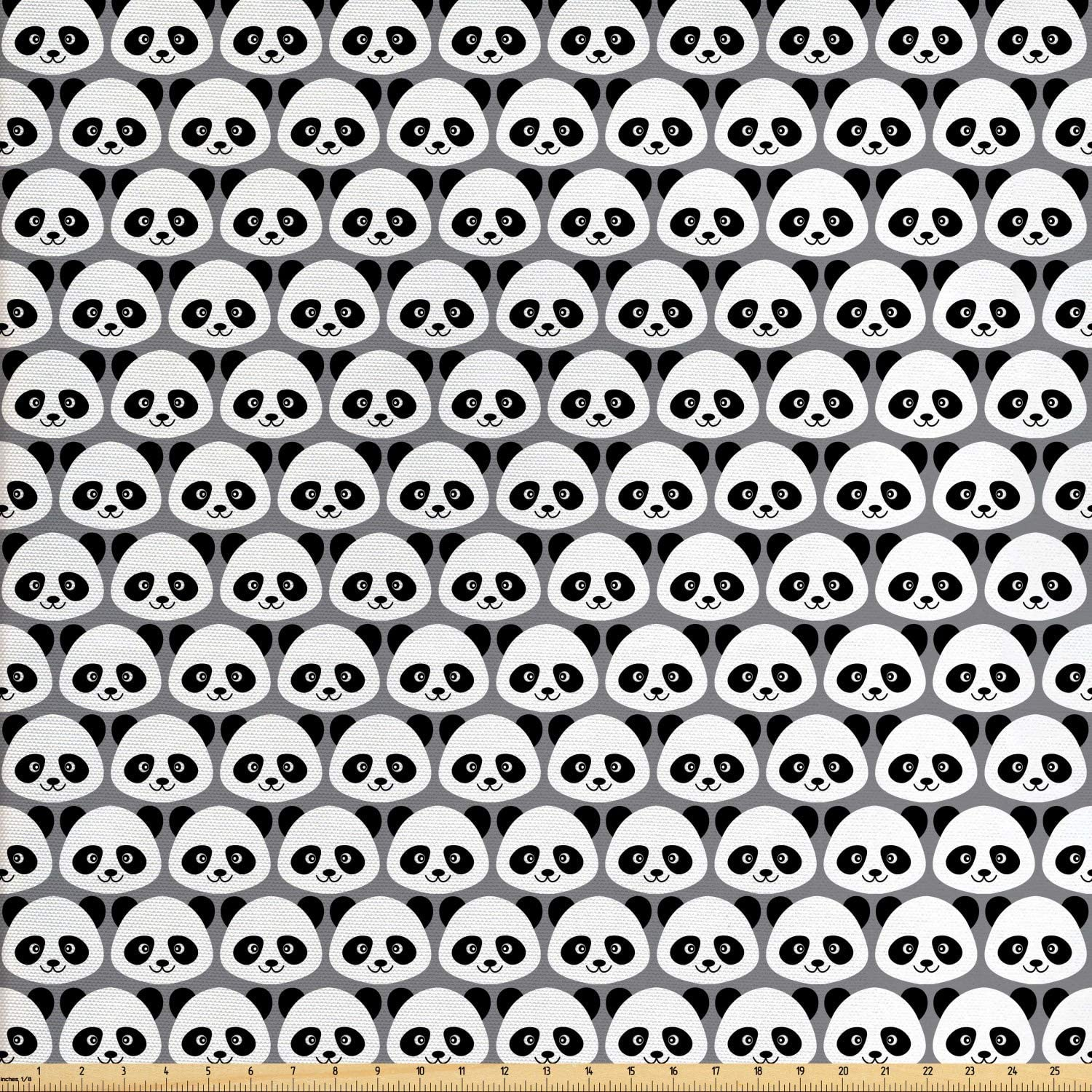 Ambesonne Panda Fabric by The Yard, Continuous Cartoon Coon Bear Bamboo Illustration in Monochrome Design, Decorative Fabric for Upholstery and Home Accents, 1 Yard, Grey Charcoal