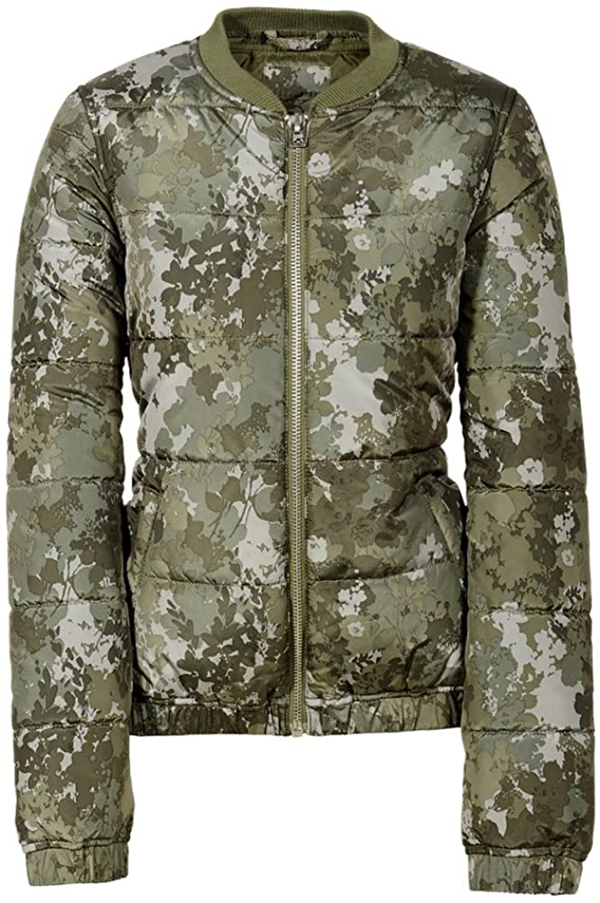 Aeropostale Womens Floral Camo Puffer Jacket, Green, Small