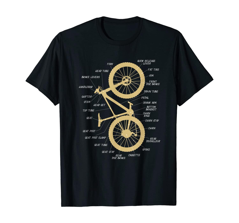 Fatbike Anatomy Vertical - Mountain Bike Parts for Cycling T-Shirt