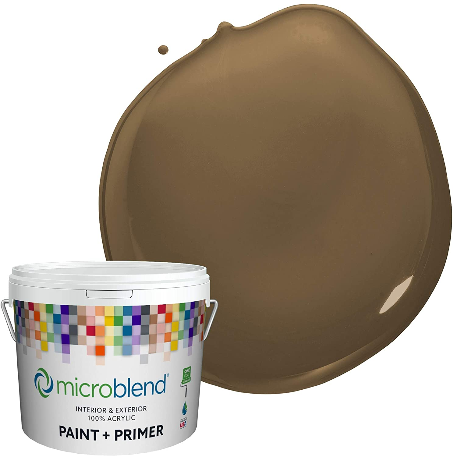Microblend Interior Paint and Primer - Brown/Harvest King, Flat Sheen, 2-Gallon, Premium Quality, One Coat Hide, Low VOC, Washable, Microblend Browns Family