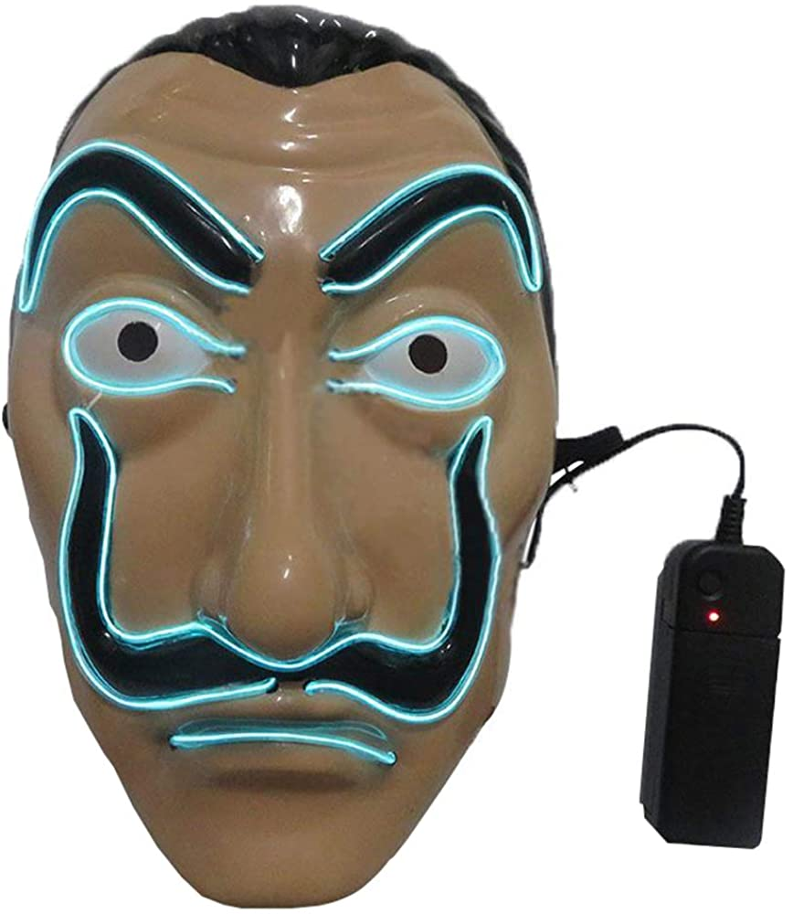 dcsdcsdcsd Halloween Light Up Mask Dali Money Heist La Casa De Papel Salvador Dali LED Mask