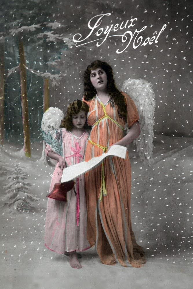 Joyeux Noel - Merry Christmas in French, Little Girl Carols with Angel - Vintage Holiday Art (9x12 Art Print, Wall Decor Travel Poster)