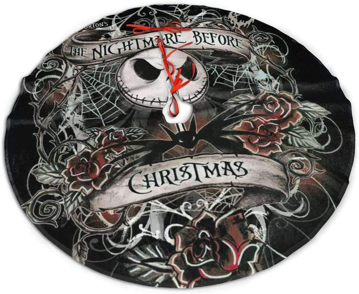 The Nightmare Before Christmas Jack and Sally Christmas Tree Skirt, Soft, Easy to Put, Light for Christmas Decorations, Holiday, Party Decoration (The Nightmare Before Christmas 3, 36)