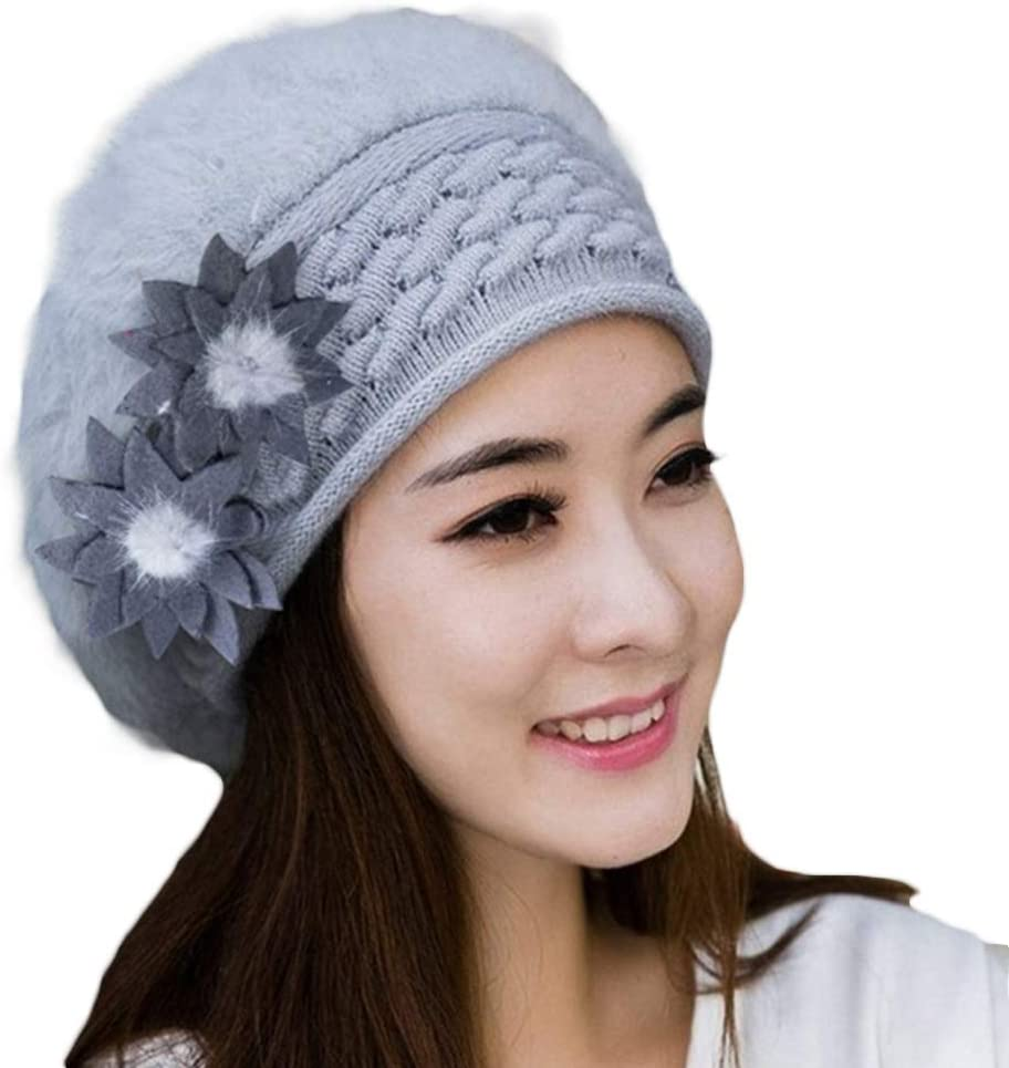 MoO1deer Beret, Wool Beret Hat, Womens Solid Color Beret, Women Winter Flower Knitted Beret Cap Warm Thickened Faux Rabbit Fur Beanie Hat for Fall or Winter Light Gray