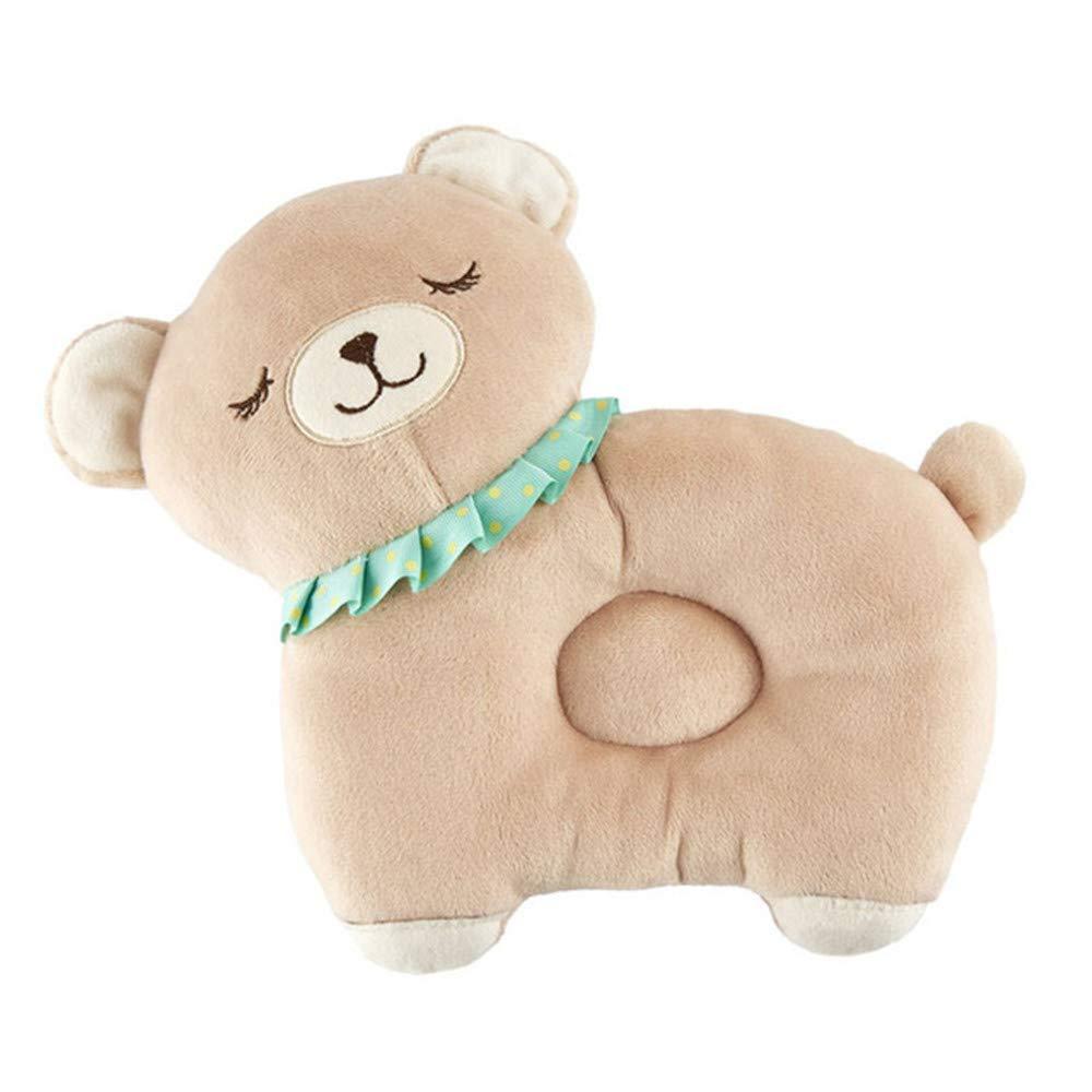 Newborn Infant Baby Pillow Prevent Flat Head Nursery Pillows Support Sleeping Breathable Pillows (Bear Khaki)
