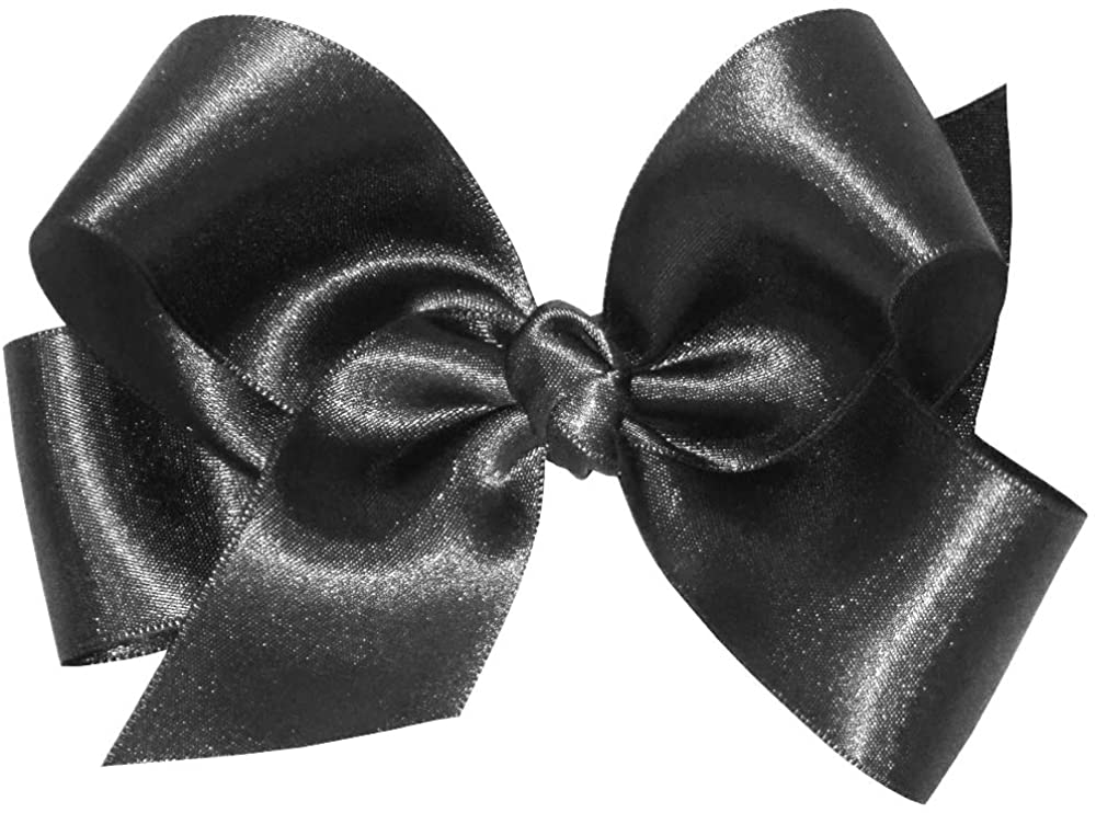 Wee Ones Baby Girls' Medium French Satin Hair Bow on a WeeStay Clip w/Knot Wrap Center