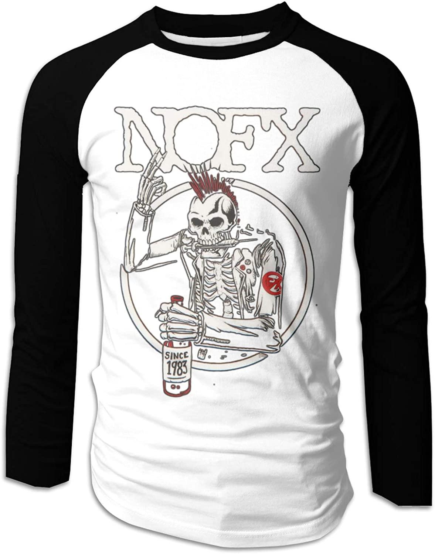 YUSOO NOFX Old Skull Shirts for Men Long Sleeve Mens Raglan Shirt