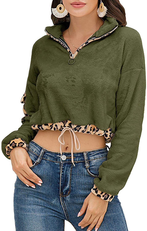 Cropped Sweatshirts for Women, Long Sleeve Leopard Printed Patchwork Zipper Pullover Fuzzy Warm Sherpa Fleece Crop Top