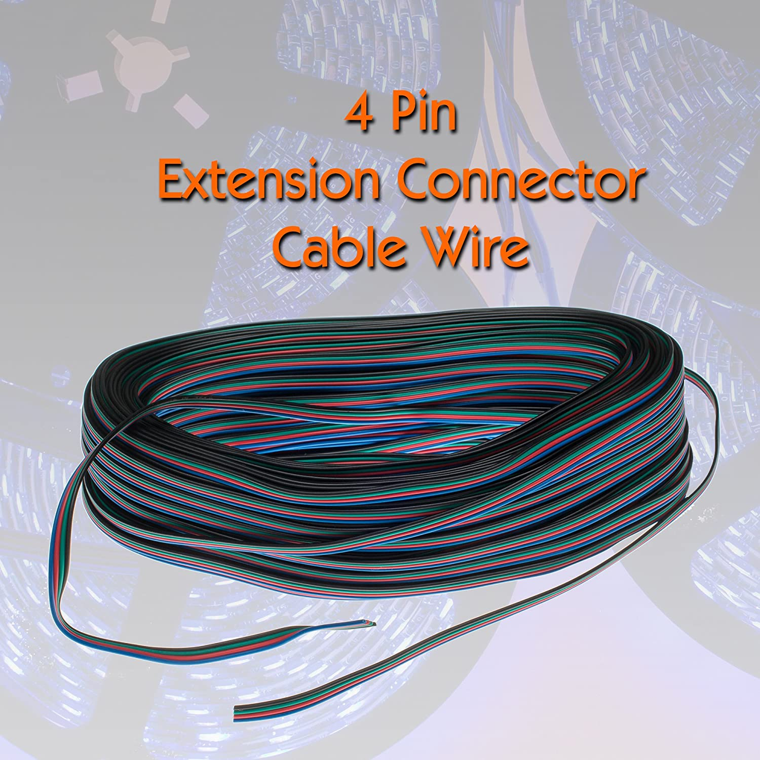 4 Pin Extension Connector Cable Wire 5050 3528 LED RGB Strip - 5 Meters / 16.4 ft