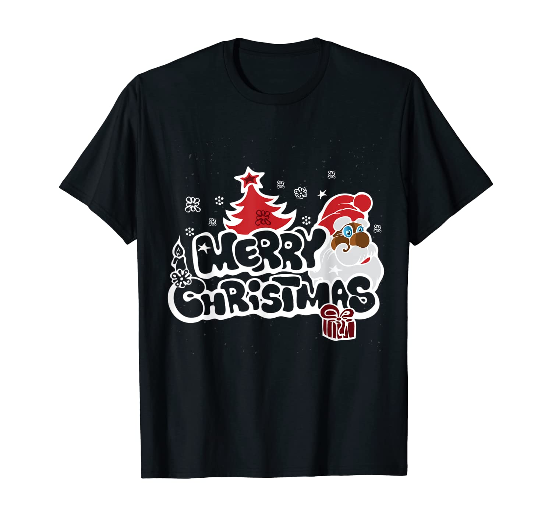 Holiday Black Merry Christmas Santa T-Shirt