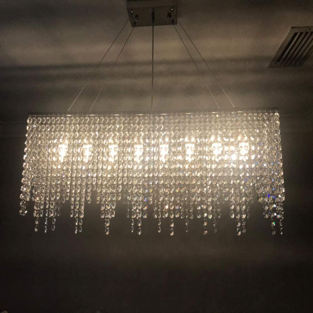 WUPYI 32 Inch Modern Crystal Chandelier,Contemporary Linear Rectangular Crystal Chandelier 7-Lights Hanging Light Pendant Lighting Fixture for Dining Room Island Kitchen