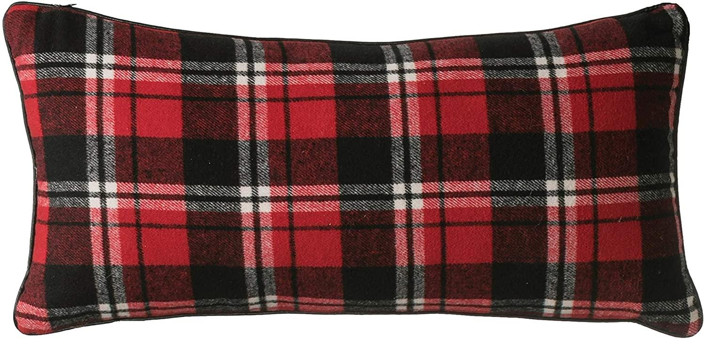 Creative Co-op Plaid Fabric Lumbar Pillow, Red