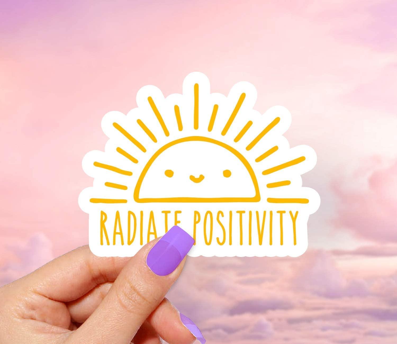 Radiate Positivity Smile Vinyl Sticker - Pack of 2 - for Laptops, Water Bottles and Windows