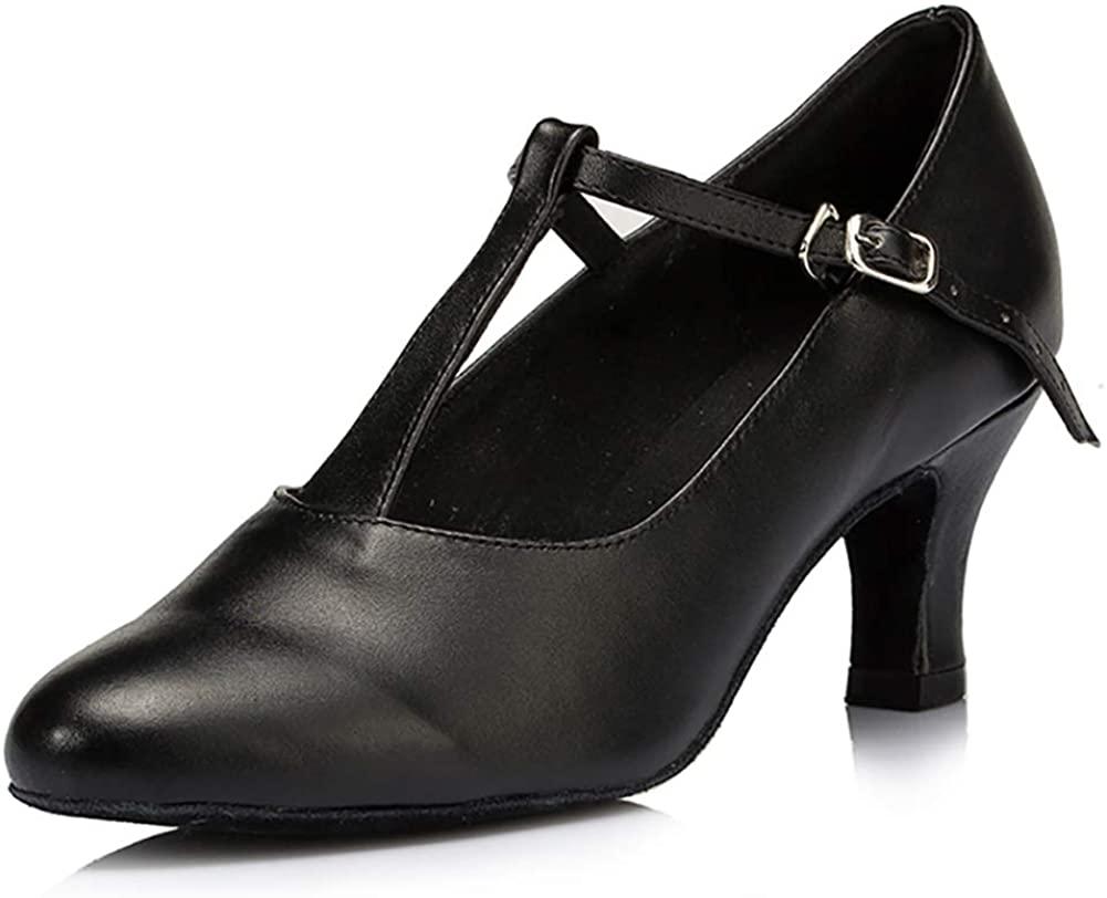 SWDZM Women T Strap Latin Ballroom Black Character Dance Shoes Ladies Modern Tango Salsa Party Dress Shoes,Model-YCL041