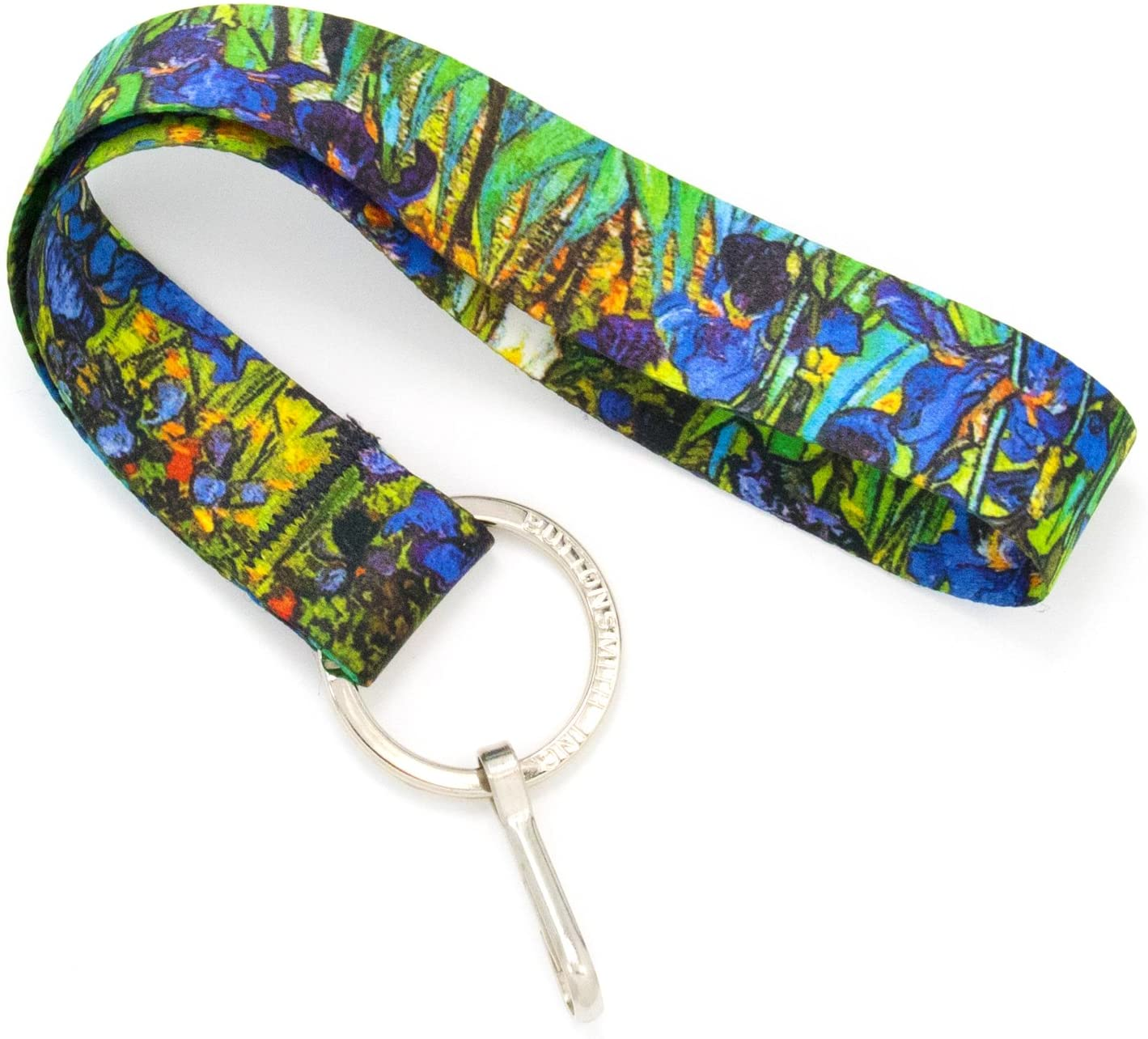 Buttonsmith Van Gogh Irises Wristlet Key Chain Lanyard - Short Length with Flat Key Ring and Clip - Made in the USA