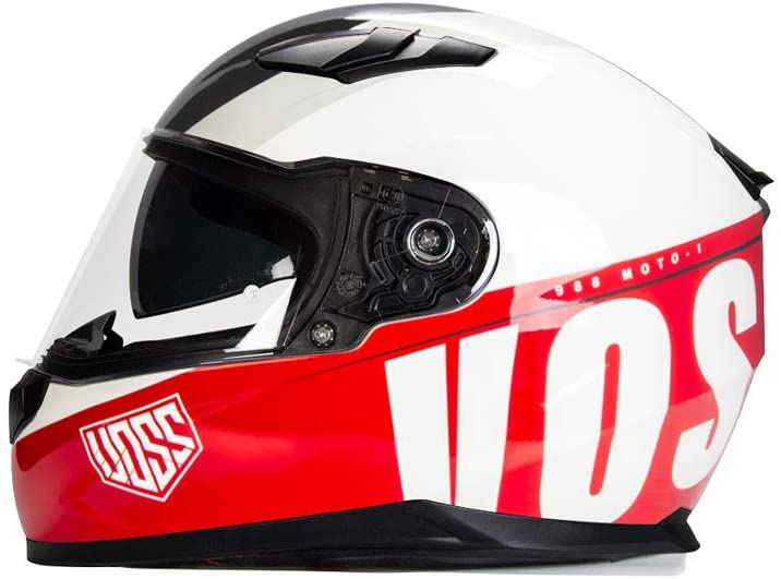 988 Moto-1 Glossy Schooled Red/White Full Face Helmet with Integrated Sun Lens - DOT - XXL