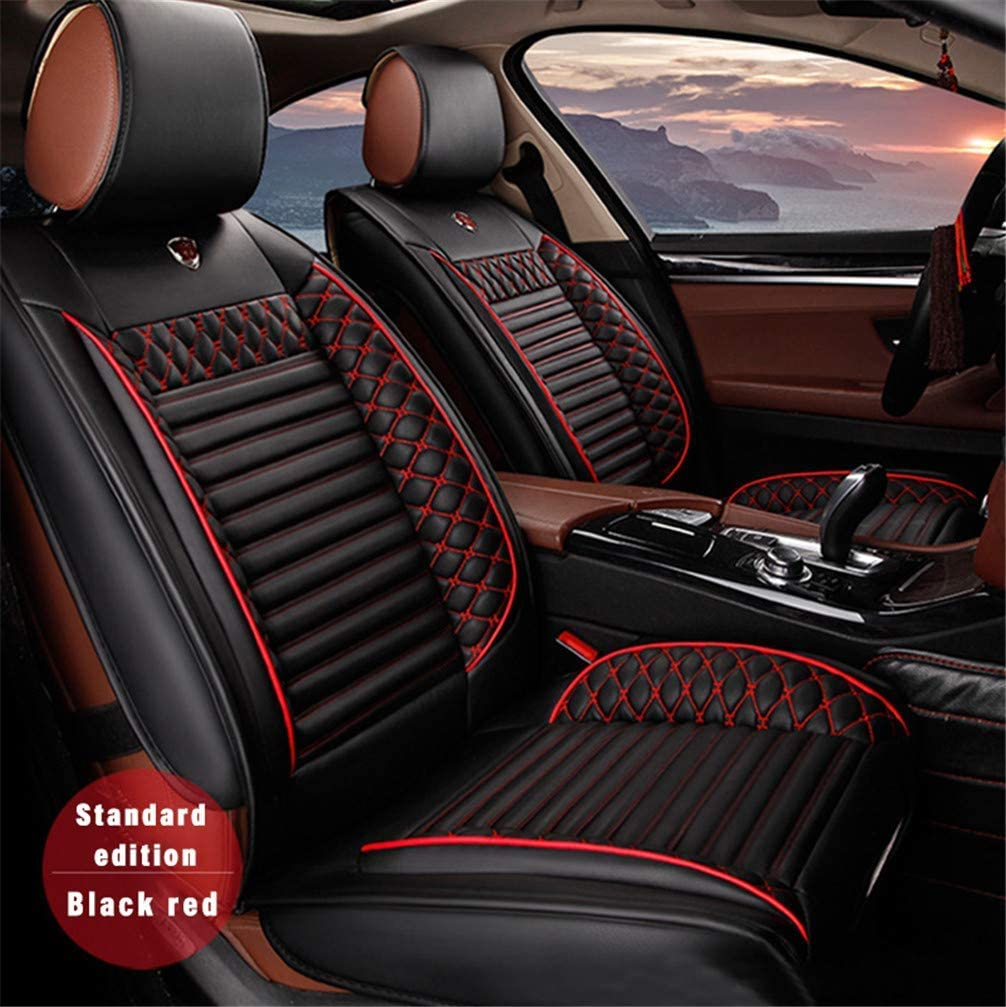 WANLING Car PU Leather Front Row Seat Covers Universal Fit for Kia Sportage Wear Resistant Faux Leatherette Cushions Black Red