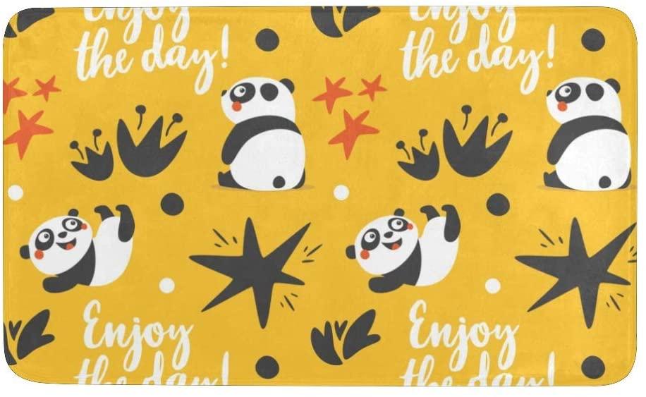 Qearl Funny Cute Panda Rug Doormat Indoor Outdoor Entrance, Anti-Slip Bath Floor Kitchen Rugs Door Mat 23.6 X 15.7 Inches Entryway Home Decor