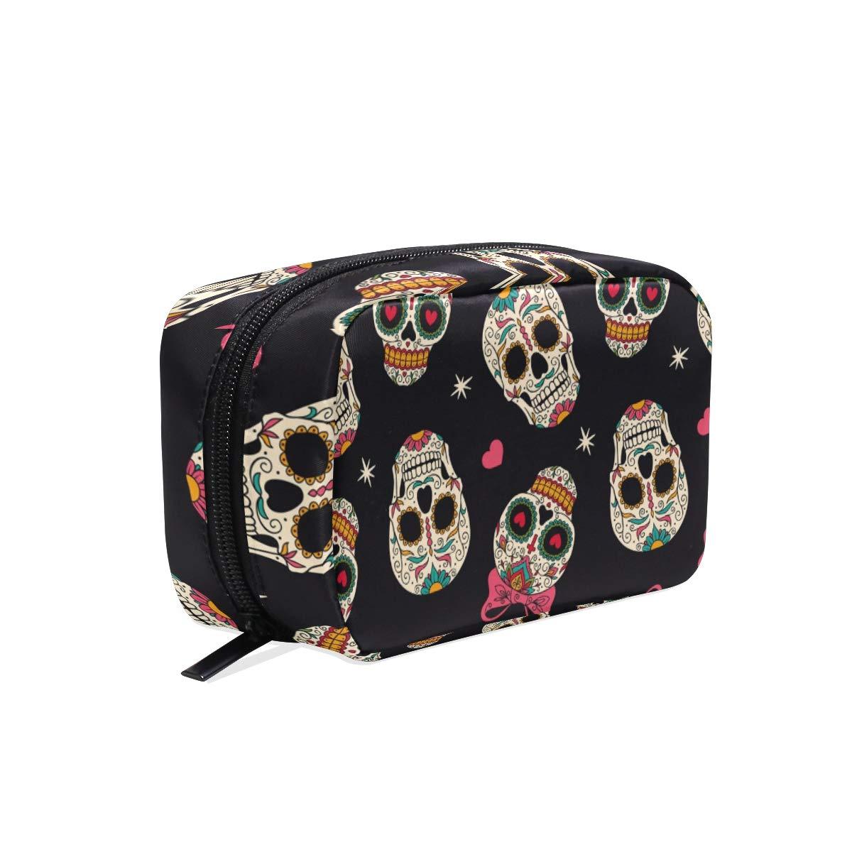 Toiletry Bag Sugar Skull Cosmetic Bag Portable Makeup Bag Pouch Travel Hanging Organizer Bag for Women Girls(831n)