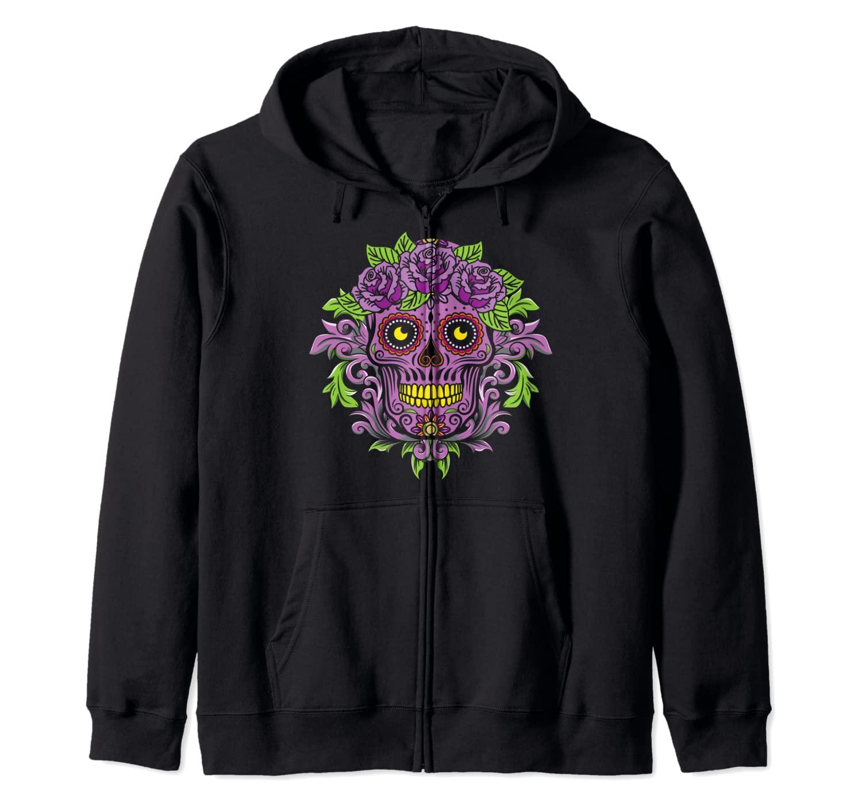Purple Floral Black Sugar Skull Day Of The Dead Zip Hoodie