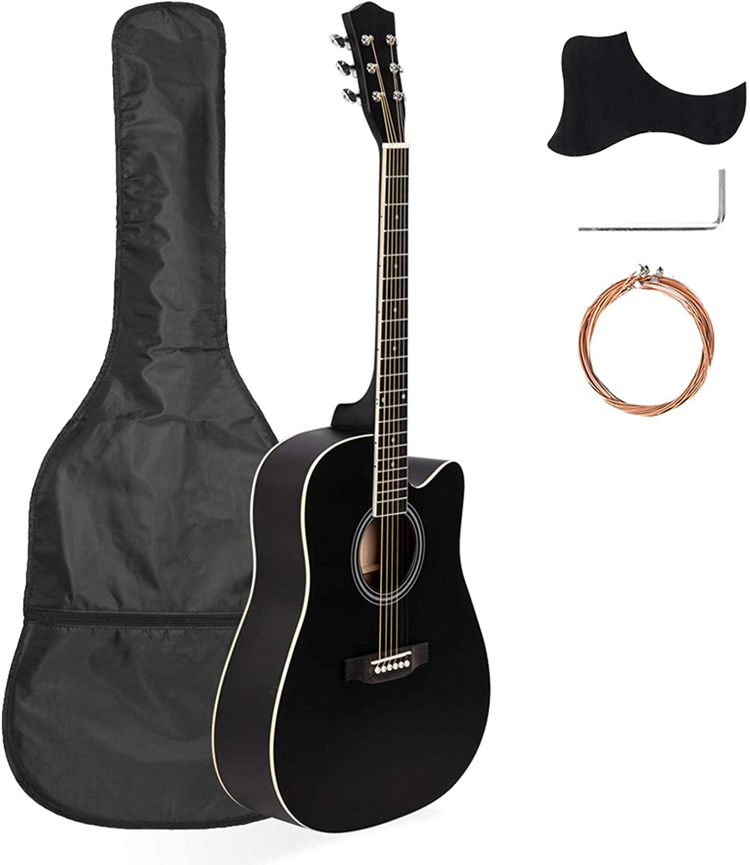 41in Full Size Cutaway Acoustic Guitar 20 Frets Beginner Kit for Students Adult Bag Cover Wrench Strings Black - Affordable & Professional Student Guitar for Beginner Starter