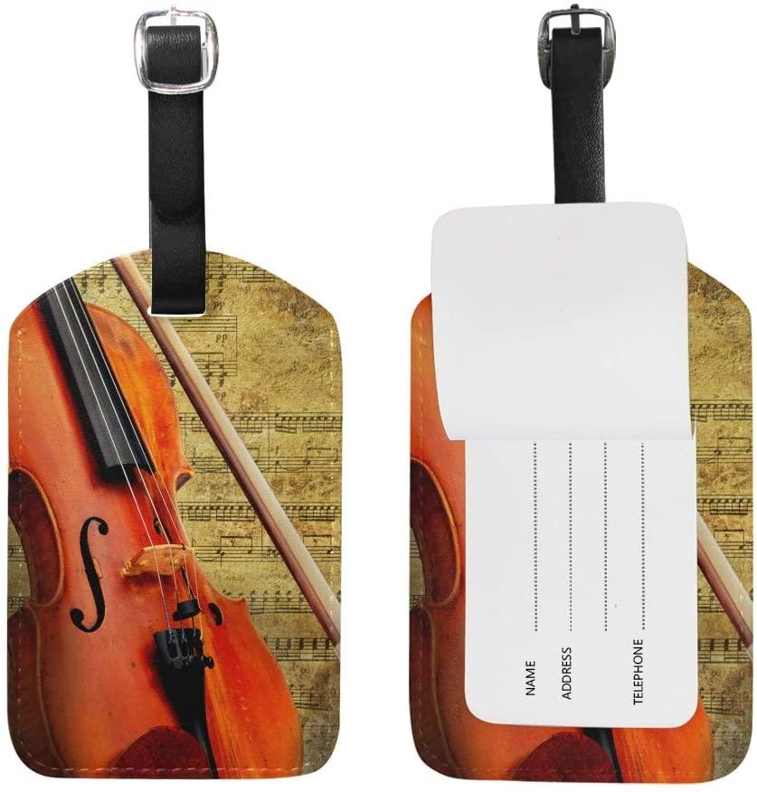 Use4 Retro Musical Grunge Violin Luggage Tags Travel Bag Tag 1 Piece