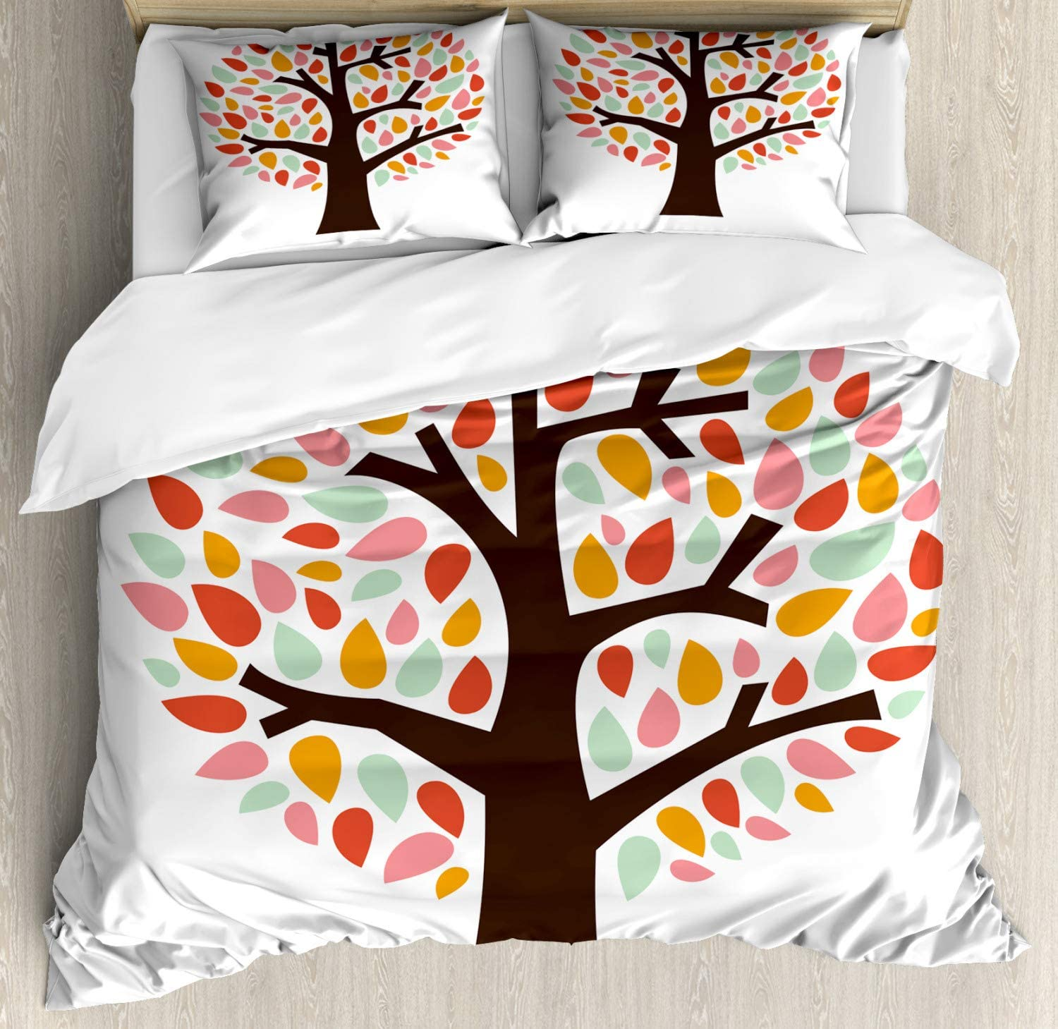 Lunarable Pastel Duvet Cover Set, Colorful Silhouettes of Leaves on an Abstract Tree Nature Springtime Design, Decorative 3 Piece Bedding Set with 2 Pillow Shams, Queen Size, Multicolor