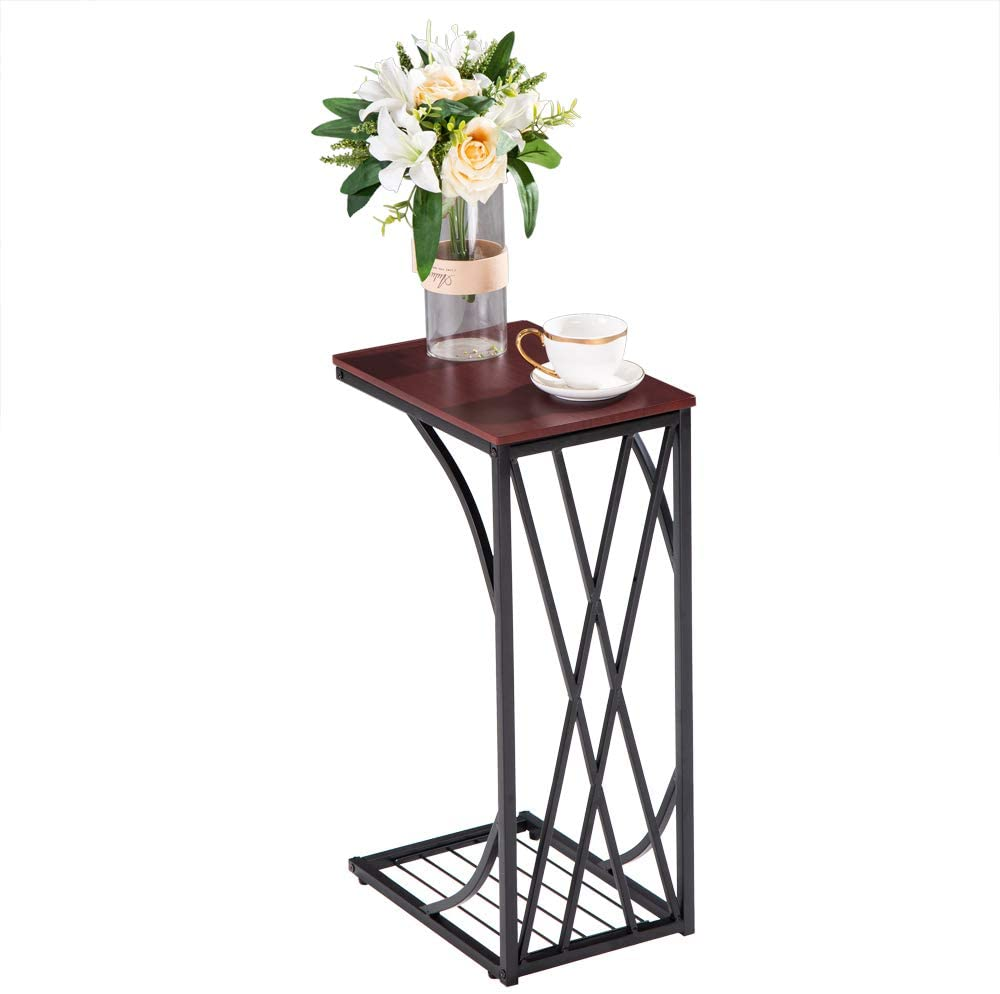 Premium Sofa Side Table Coffee End Tables for Living Room, C-Type Table Cross Line Brown Desktop, 12×8.3×21.3in