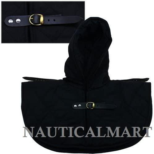 NauticalMart Renaissance Medieval Cotton Padded Armor Collar and Coif Arming Cap - Black