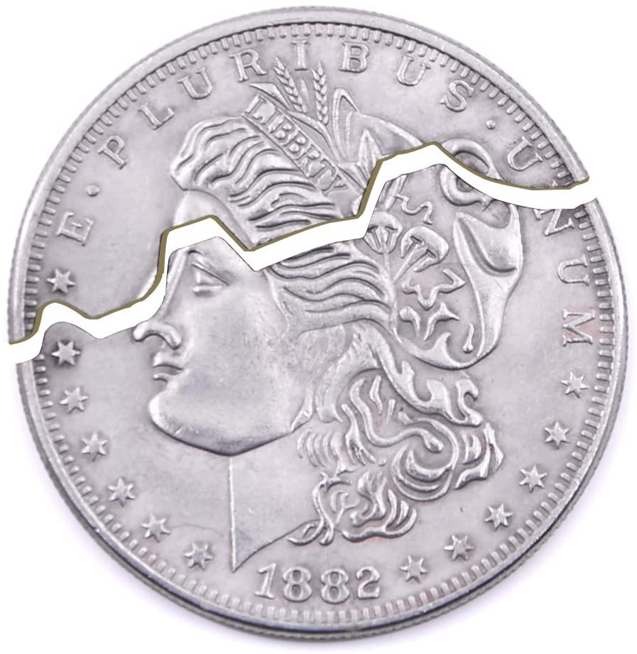 Bite Coin Magic, Restore Folding Coin Magic Accessories for Magicians Appearing/Vanishing Coin Magic Tricks Props Illusion (Morgan Dollar, 2 Fold)