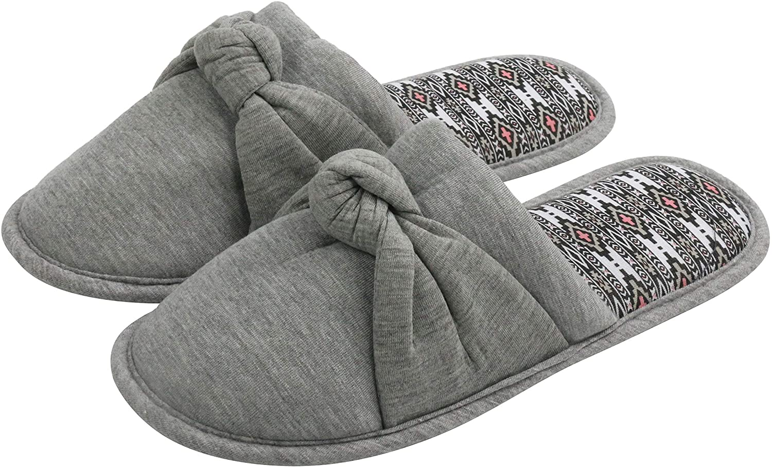Komyufa Classic Gray Cozy Memory Foam Home Slippers for Women Girls with Bow-tie Non-Slip Rubber Sole House Shoes Indoor & Outdoor
