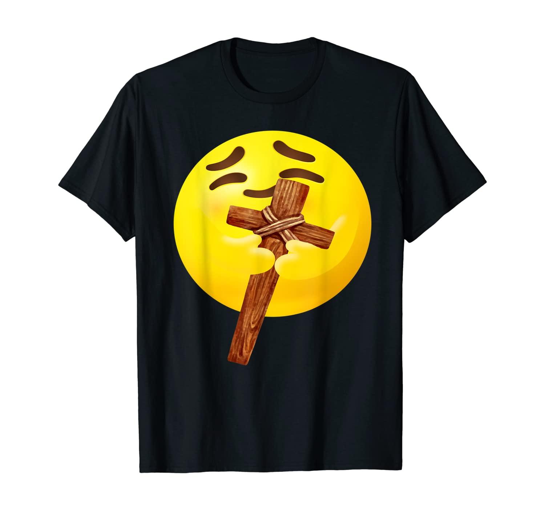 Hugging Emoji With Cross of Jesus Christ - Religious T-Shirt