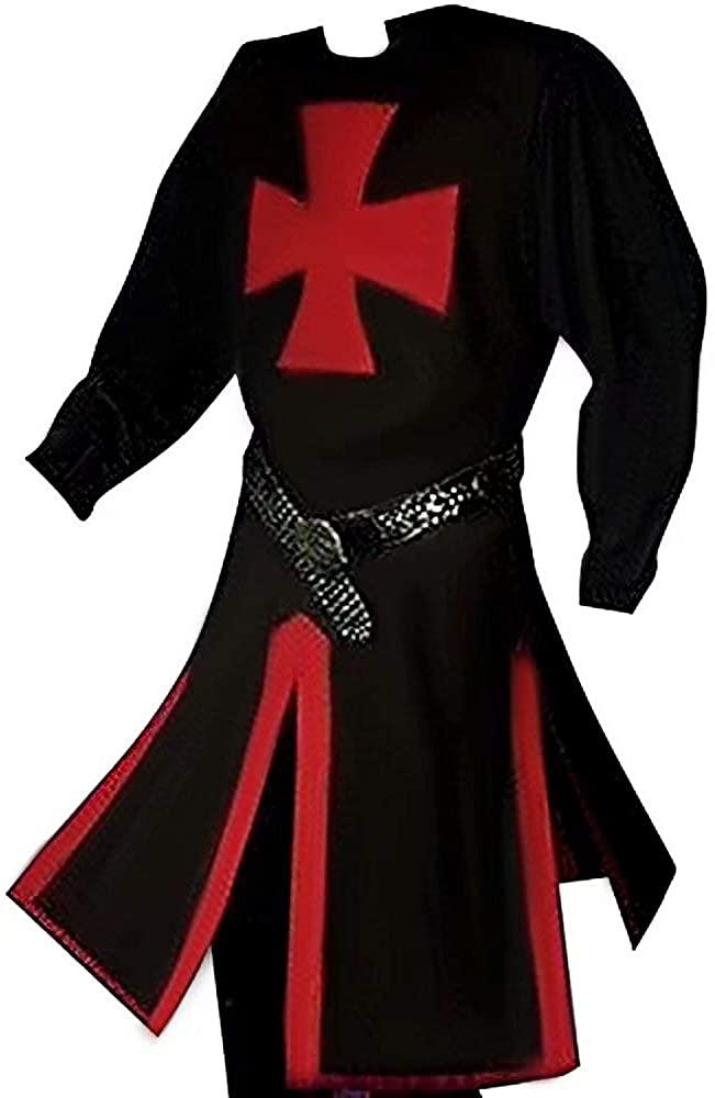 Medieval CrJFader Templar Knight Warrior Tunic Robe Halloween Renaissance Costumes Surcoat Cosplay Cloak for Men