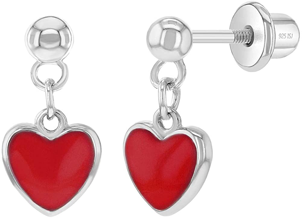925 Sterling Silver Child's Enamel Heart Dangle Earrings With Safety Screw Back - Best for Toddlers, Young Girls, Pre Teens & Teens- Good Choice For Daily or Party Wear