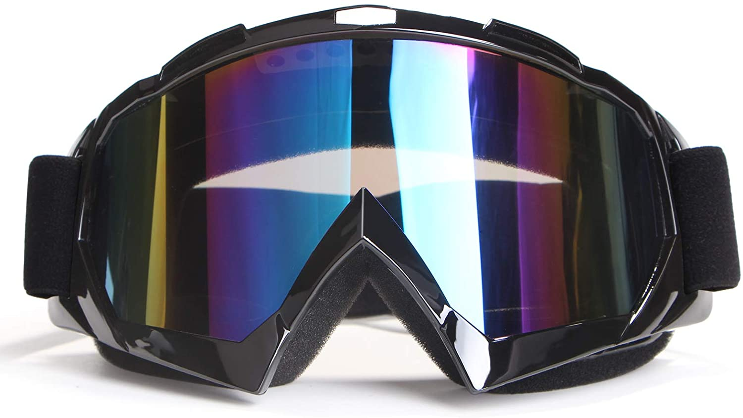 4-FQ Motorcycle Goggles Dirt Bike Goggles Motocross Goggles Windproof Skiing Goggles (Black Frame+Color Lens)