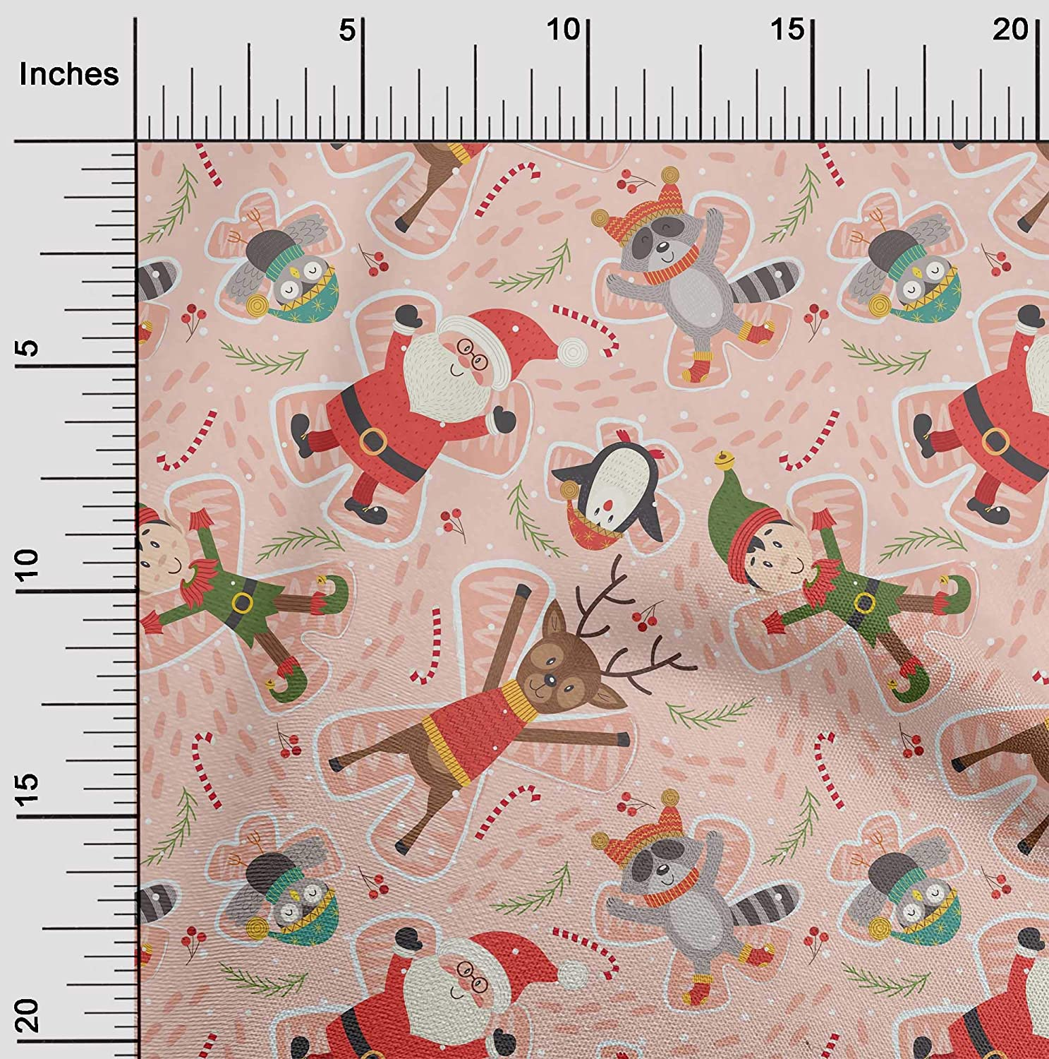 oneOone Cotton Poplin Light Peach Fabric Cartoon Animal,Candy Stick & Santa Christmas Fabric for Sewing Printed Craft Fabric by The Yard 56 Inch Wide