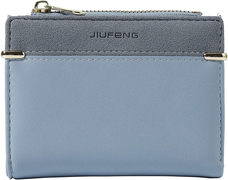 JIUFENG Women Short Wallet RFID Blocking Credit Card Holder Zipper Coin Purse Bifold Money Clip (Blue)