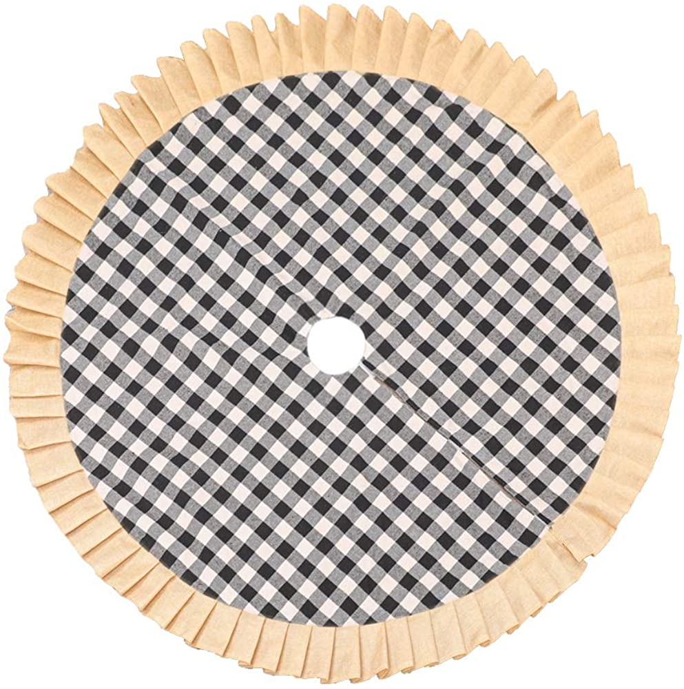 Christmas Tree Skirt 48 inch Large, Black and White Plaid Buffalo Linen Burlap Ruffle Edge with Felt Fabric Lining, Checked Tree Mat for Xmas Holiday Party Decorations