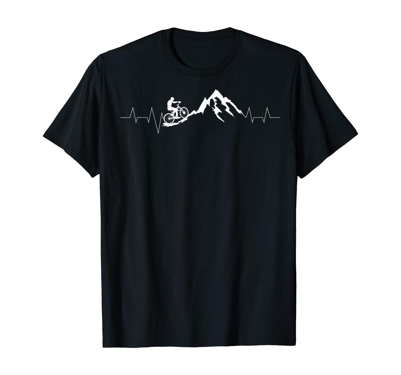 Mountain Bike Heartbeat | Cute Bike Heartbeat Gift T-Shirt