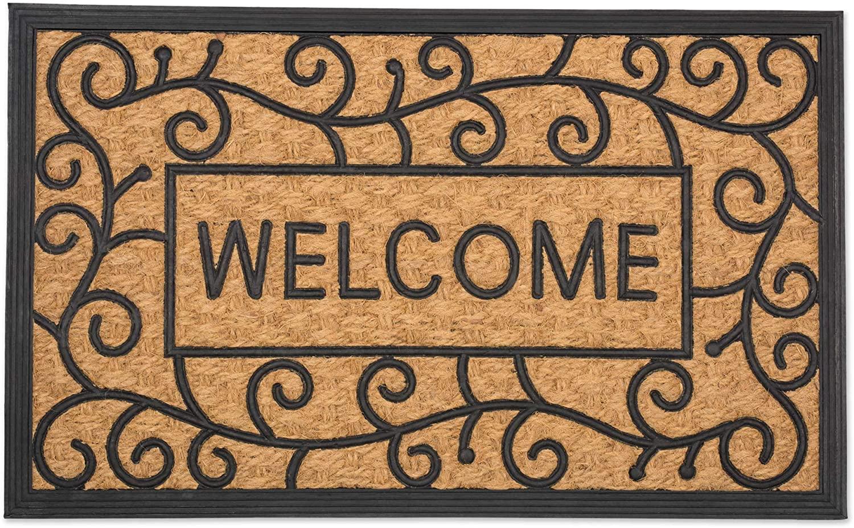 DII Natural Coir Tuffride PVC Heavy Duty Non-Slip Doormat, 18x30, Welcome Swirls
