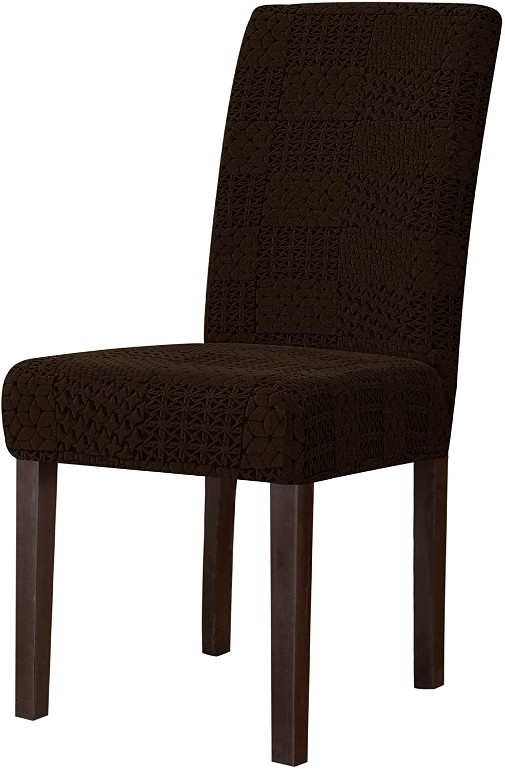 subrtex Dining Room Chair Slipcovers Various Jacquard Chair Covers Stretch Chair Covers for Dining Room Washable Parsons Seat Covers (Pack of 4, Chocolate)